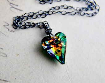 Crystal Necklace, Crystal Heart, Heart Necklace, Crystal Jewelry, Rainbow Crystal, Sterling Silver, Prism
