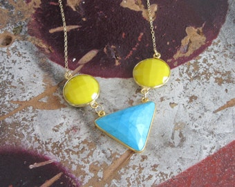 Blue and Yellow Turquoise Geometric Necklace