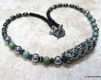 Turquoise Necklace Green Magnesite Hematite Magnet Therapy Choker Chain Maille Focal