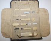 1920s ART DECO, GRECIAN design, 7 pc.  French Ivory,Travel Manicure set, Vanity, Celluloid, Boardwalk Empire Era, set & Leather folding case