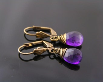 Amethyst Earrings, Wire Wrapped Purple Amethyst Earrings, Amethyst Jewelry, February Birthstone Earrings, Solid Brass Earrings, E2040
