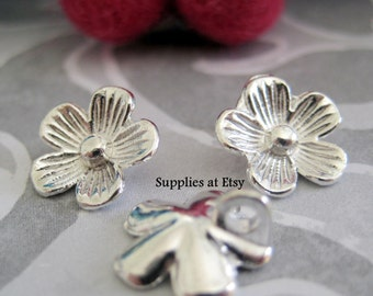 Special Sale Silver Brass Flower Charm 12mm-flower brass bead Pendant connector-Bracelet charm findings-DIY gypsy jewelry charms