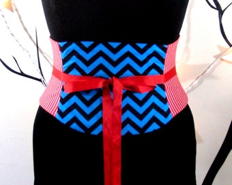 Stripes and Chevrons Graphic Corset Belt Waist Cincher Any Size
