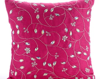 """Designer Fuchsia Pink Pillow Covers, 16""""x16"""" Silk Pillows Covers For Couch, Square  Zardozi Leaves Garden Pillows Cover - Fuchsia Bloomers"""