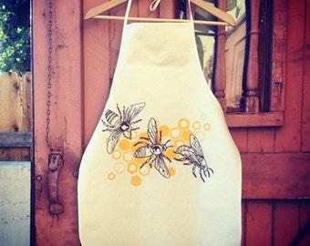 Honeybee Kitchen Apron in Unbleached Cotton Canvas