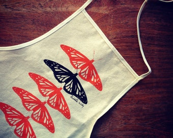 Monarch Butterfly Kitchen Apron in Unbleached Cotton Canvas