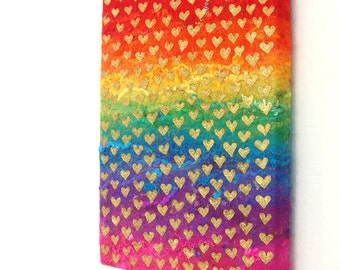 Rainbow of Love  - A Felted Rainbow Painting with Gold Painted Love Hearts, Stretched on a Canvas Frame