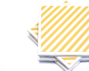 Tile Coasters - Yellow and White Stripes - Set of 4 Retro Inspired Coasters