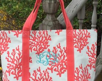 Coral Reef Canvas Tote - Cavas Tote- Beach Bag- Canvas Bag-Personalized Tote