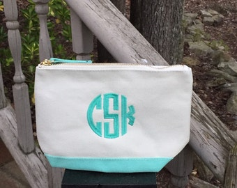 Mint Canvas Accessory Bag~Monogrammed Cosmetic Bag~Custom Travel Pouch~Personalized MakeUp Bag~Canvas Accessory Bag