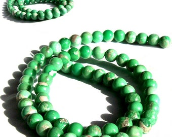 MERZIEs 10 UTAH 5-6mm VARISCITE yummy mint green round genuine natural stone beads varisite varicite - Combined Shipping