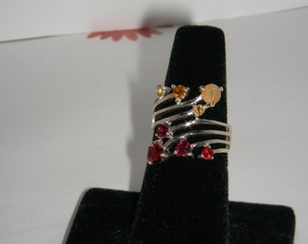 Stunning Combination of Garnets, Sapphires, Citrine and Fire Opal Sterling Silver Ring
