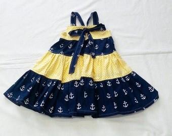 Easter Dress - Girls Anchor Dress - Girls Beach Dress - Girls Spring Dress - Anchors - Nautical Dress - Groovy Gurlz