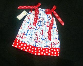 Pillowcase Dress -  4th of July Dress - Anchor Dress - Girls Nautical Dress - Coast Guard - Spring Dress  - Patriotic Dress - Groovy Gurlz