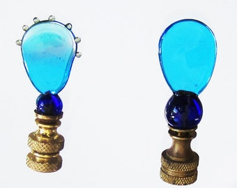 2 Handmade Glass Lamp Finials - Aqua with a Touch of Purple with Brass Hardware - Lampwork Technique