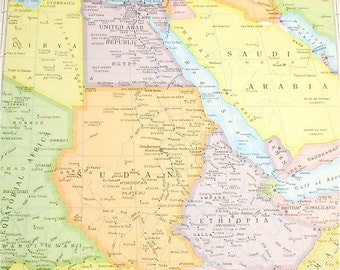 Northeastern Africa Saudi Arabia United Arab Republic 1960s retro map paper ephemera . wall decor . vintage book page . map