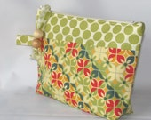 Cosmetic Bag, Makeup Bag zippered pouch Floral Geometric, Zippered Small Bag, Birthday Gift - Ready to Ship