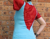 Aqua Red Lace Top, Jersey Knit Top, Cowl Neckline, V- Back, Short Sleeve, Fitted Body, Red Lace, Made in Australia