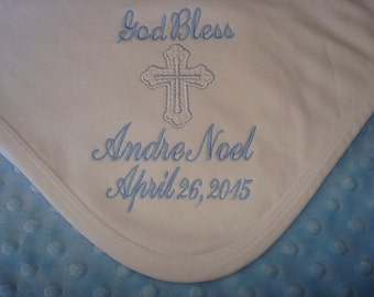 Andre Personalized Baptism blanket  Personalized christening Blanket- Choice of name and Date