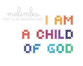 I am a child of God print, rainbow faux cross-stitch, PDF instant download