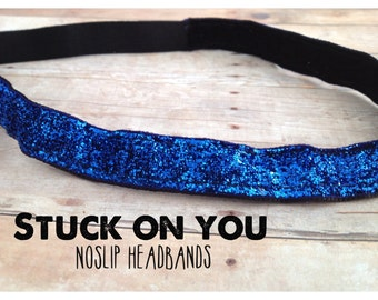 no slip | non slip | fitness headband | yoga headband | running headband | marathon | softball | royal blue | sparkle