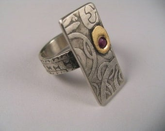 Ruby 14 cts Gold Ring Polynesian Tattoo Original design by Marc Gounard Sausalito, CA Sterling Silver