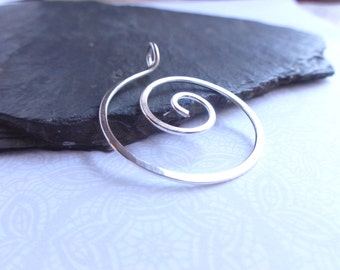 Hand Hammered Spiral Pendant, Hand Forged Spiral, Silver Swirl Jewelry