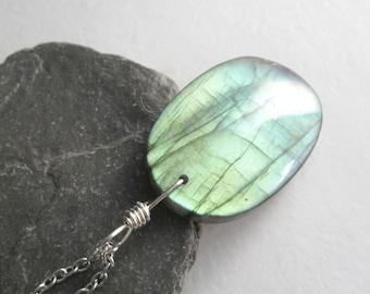 Large Green Labradorite Jewelry, Iridescent Stone Pendant, Unique Necklace