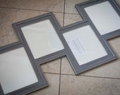 MULTI 4 Opening 8x10 staggered distressed collage picture frame ...color - magnet