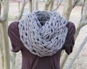 Arm knit chunky infinity cowl soft wool blend yarn in barley