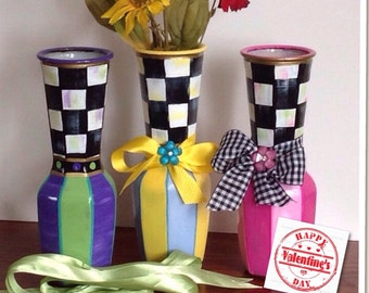 Whimsical colorful glass vase hand painted -stripes-black and white checks-embellished