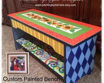Whimsical Painted Furniture, Custom wood bench hand painted whimsical harlequin swirls sunflowers