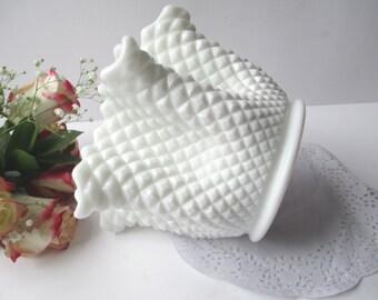 Vintage Westmoreland Milk Glass English Hobnail Crimped Rose Bowl/Vase