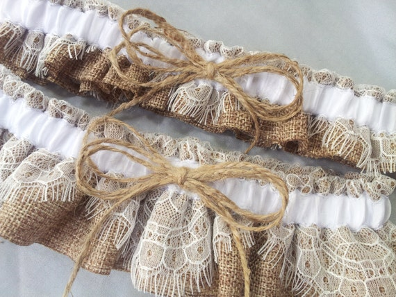 burlap and lace wedding garter set