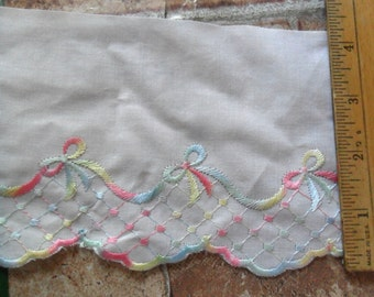 """5 Yards of Vintage White cotton with Pastel Embroidered design - 4"""" width"""