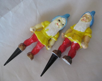 2 Shabby Gnome Cake Topper Figurine Yellow Red Blue Plastic Vintage