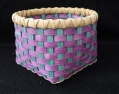 Hand Woven Basket in Purple and Turquoise. Storage Basket.  Woven basket.  Hand made baskets in fun colors!