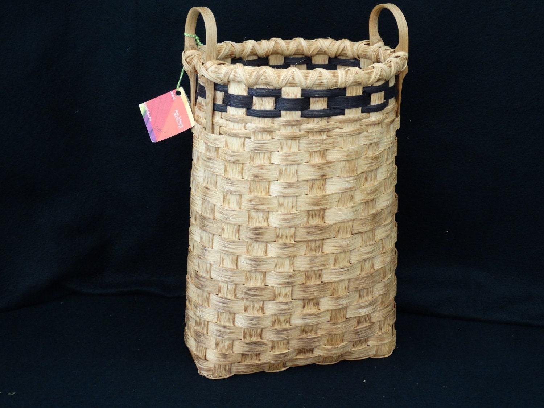 hand woven basket with bushel basket handles by colorbasketstudio. Black Bedroom Furniture Sets. Home Design Ideas