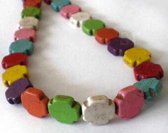 15mm Multicolor Turquoise Greek Cross stone beads -  Full Strand