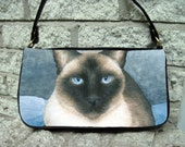 Clutch or Sling Bag Purse Cat 547 Siamese from art painting L.Dumas
