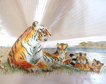 Vintage Framed Foil Art - Tiger and Cubs