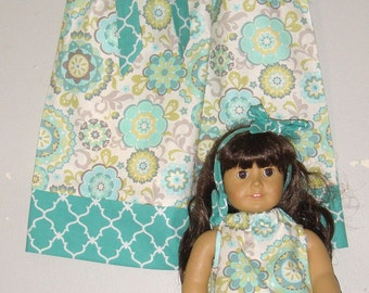 Doll and me SALE 10% off code is tiljan dresses  teal gray floral Pillowcase dress   size  12 months , 2t, 3t, 4t, 5t. 6.7.8.10.12