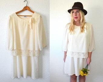 Lace Cream Dress - Little White Dress - Wedding Dress - Bridesmaid Dress
