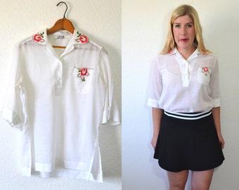 1960s Blouse- Women's White Blouse - White Sheer Blouse - Womens Floral Blouse