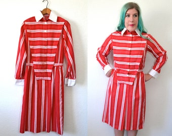 Red Striped Dress - White Collar Dress - Long Red Dress
