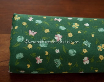 Flowers and Butterflies on Green- Vintage Fabric Mod Flowers Juvenile Floral Novelty Calico