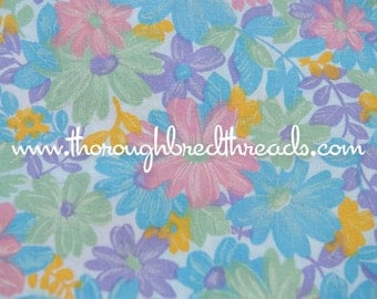 "Daisy Garden - Vintage Fabric 60s New Old Stock Colorful Floral 36"" wide"