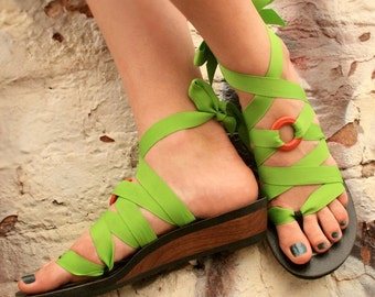 Low Wedge Ribbon Thong Sandal by Mohop | Handmade Vegan Shoes with 5 Interchangeable Ribbons
