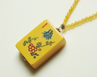 Bakelite Floral Mah Jong Necklace with Orange Chalcedony Beads / Handmade / One of a Kind / Flower Tile / Orange / Apricot / Butterscotch