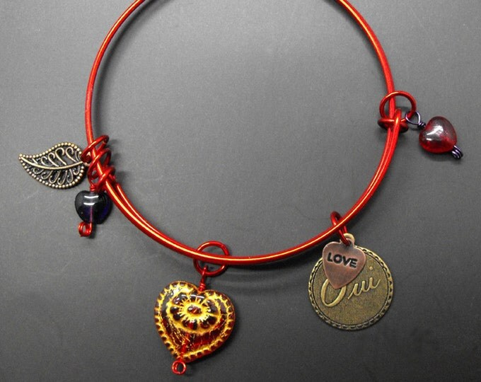 Heart Bracelet Love Oui Adjustable Size Stackable Red Bangle Romance Romantic Jewelry